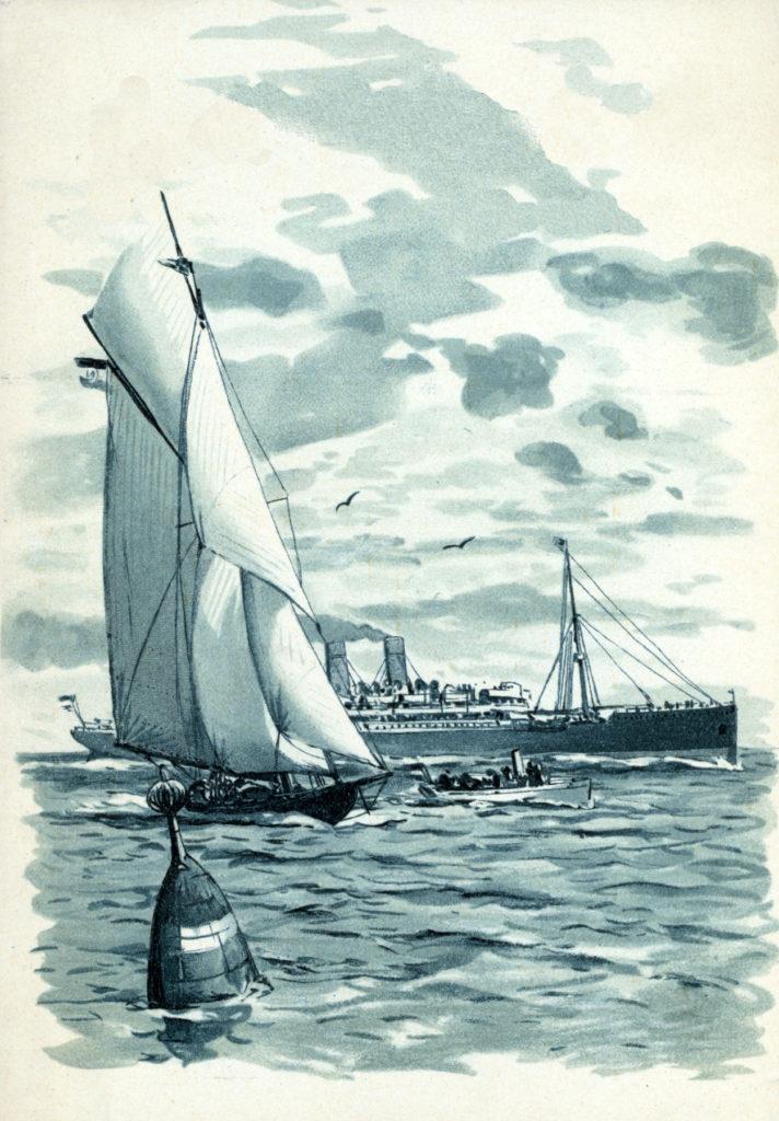 vintage blue boats sailing image
