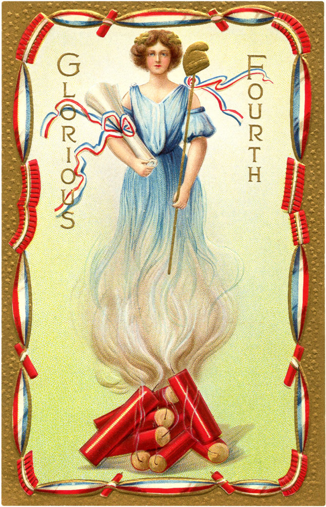 Vintage Firecracker Lady Fourth of July Illustration