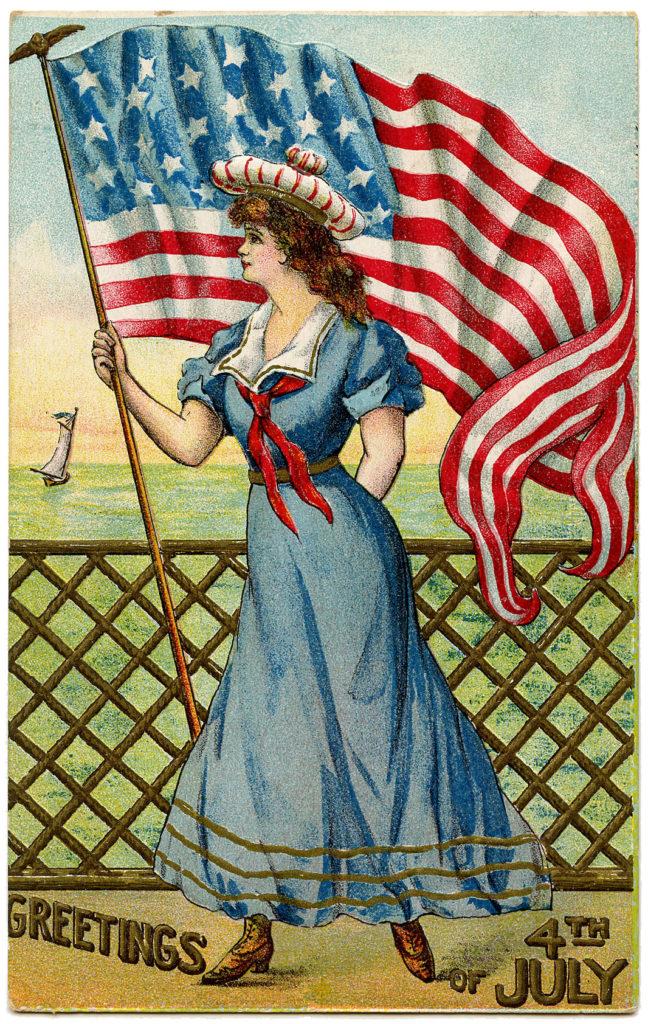 Vintage Patriotic Sailor Girl Flag Image