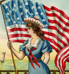 Image of woman with American flag