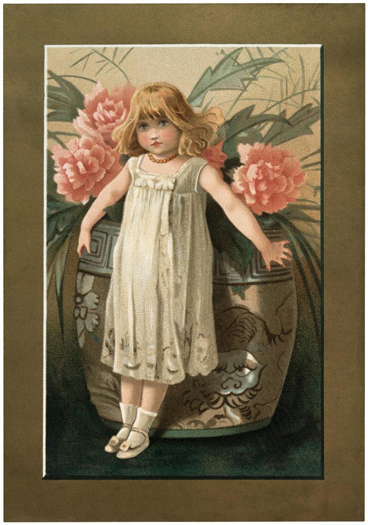 Vintage Girl Peonies Image
