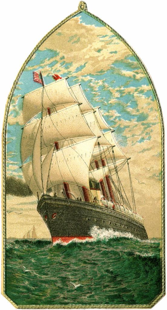 vintage ship sails ocean image