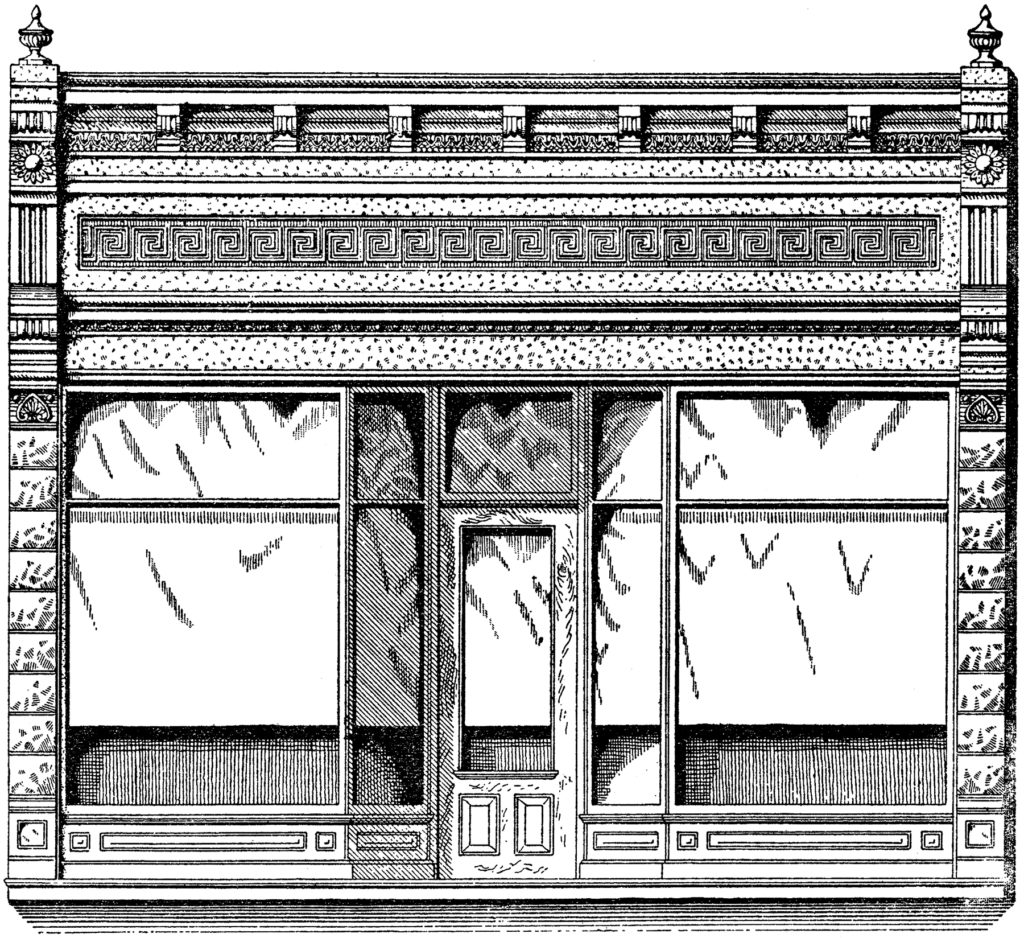 vintage store front illustration