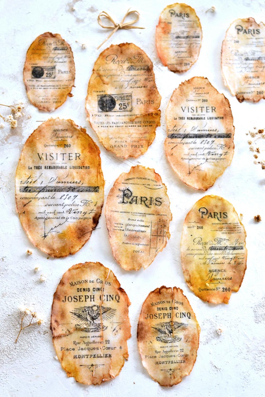 Antique Wax Paper Labels