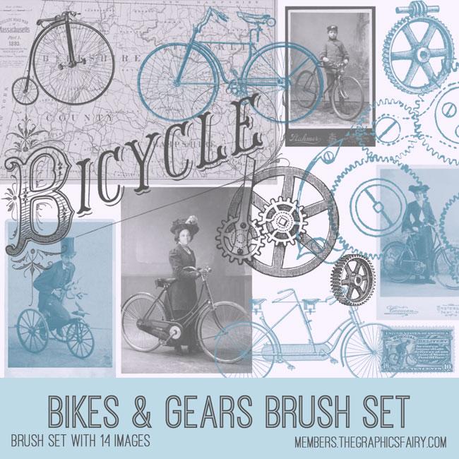 vintage bikes & gears ephemera brush set