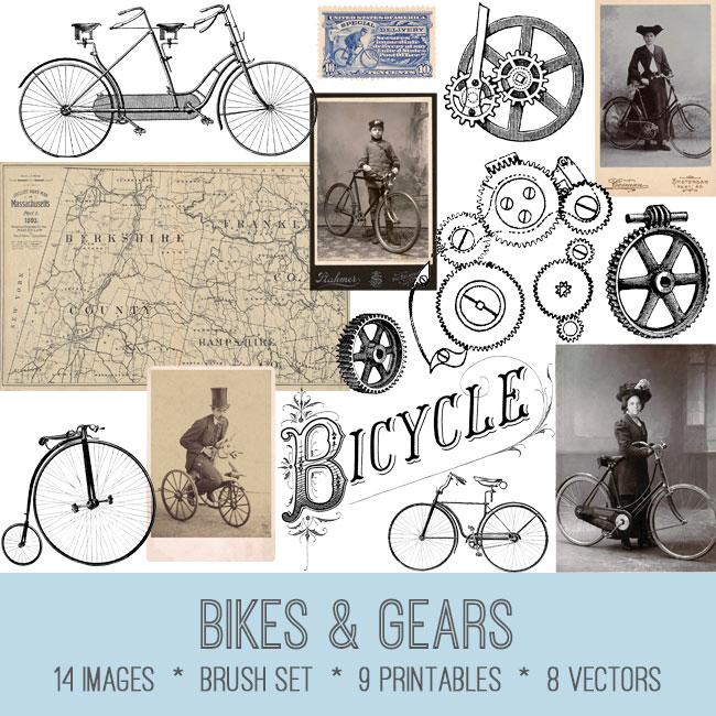 bikes & gears vintage images