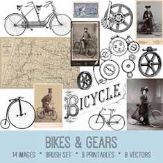 vintage bikes & gears ephemera bundle