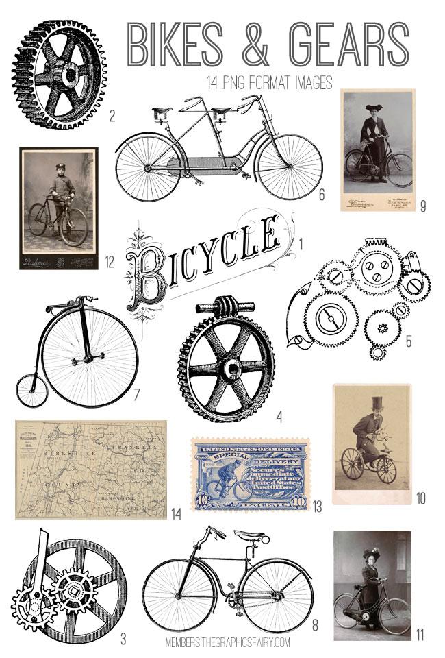 vintage bikes & gears ephemera digital image bundle