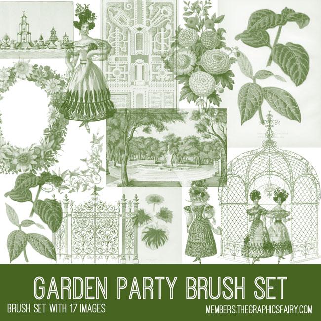 vintage garden party ephemera brush set