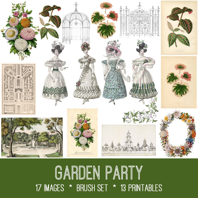 garden party ephemera vintage images