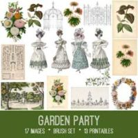 garden party vintage ephemera bundle