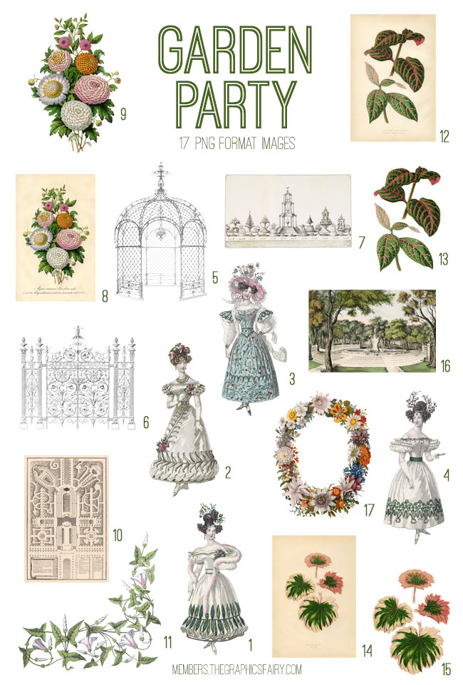 vintage garden party ephemera digital image bundle