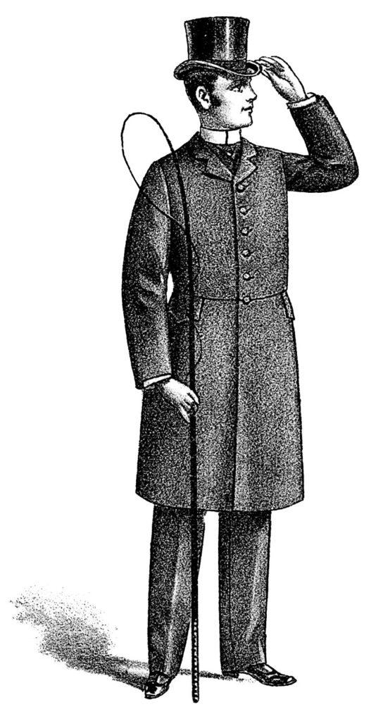 Victorian man suit top hat image