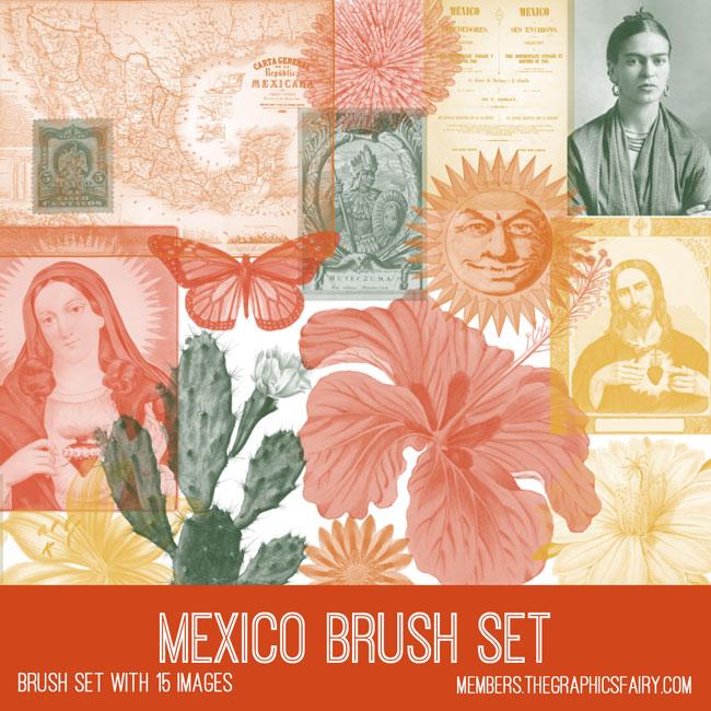 vintage Mexico ephemera brush set