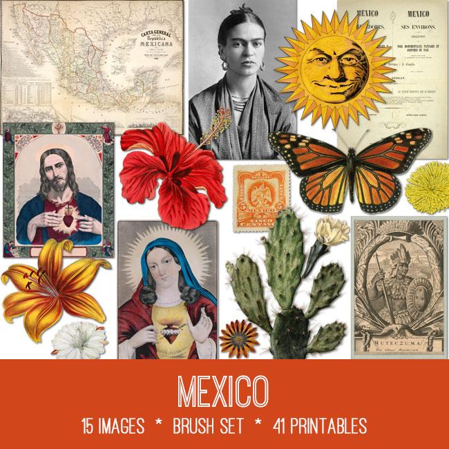Mexico ephemera vintage images