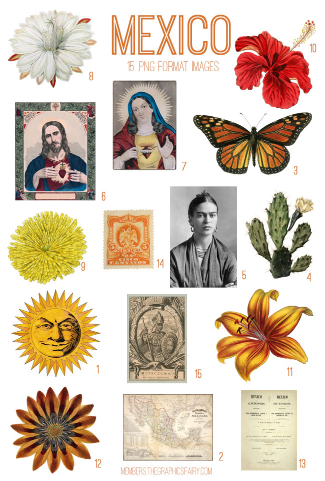 vintage Mexico ephemera digital image bundle
