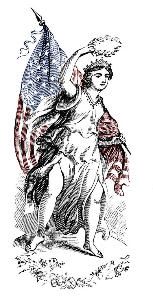Lady LIberty Flag Clipart