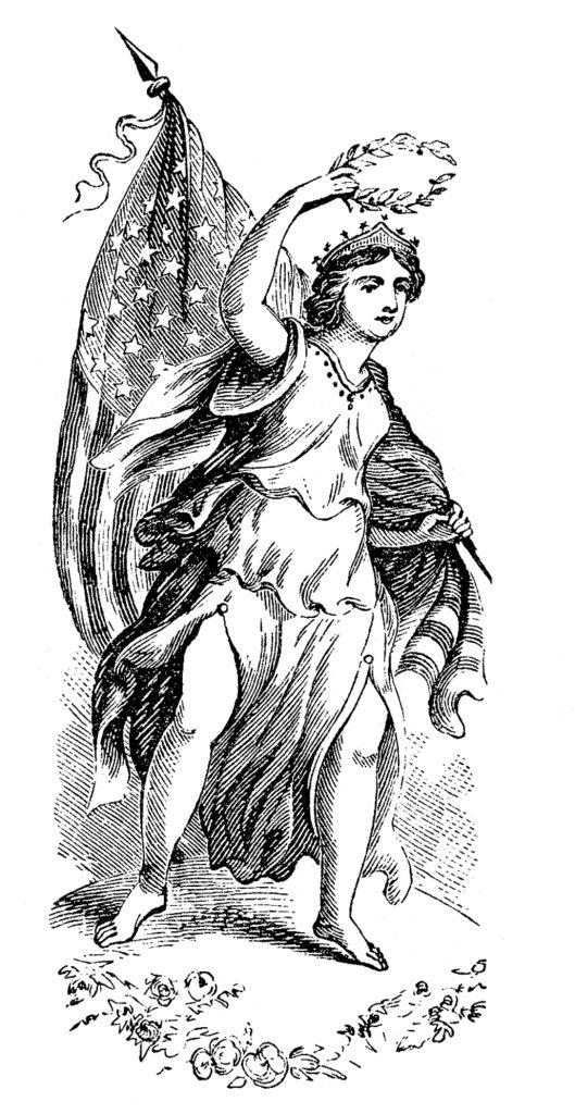 Lady Liberty flag black white clip art