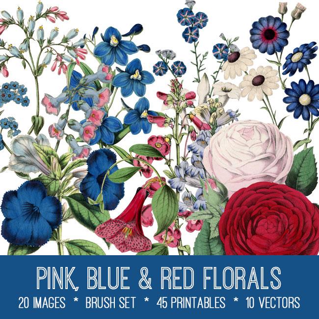 pink blue red florals vintage images