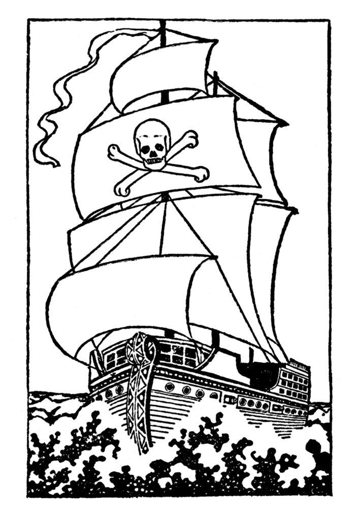 pirate ship black white clipart
