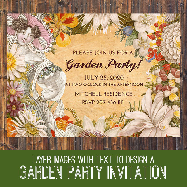 PSE Tutorial Layer images with text to create a garden party invitation