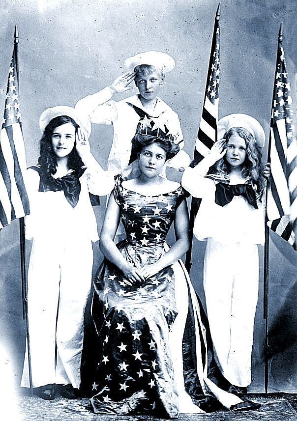 antique patriotic queen flag photo image