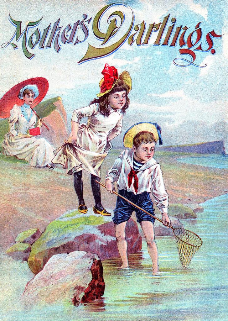 children sea beach fishing net image