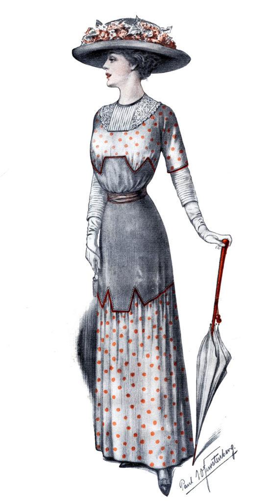 Edwardian Lady Fashion parasol hat illustration