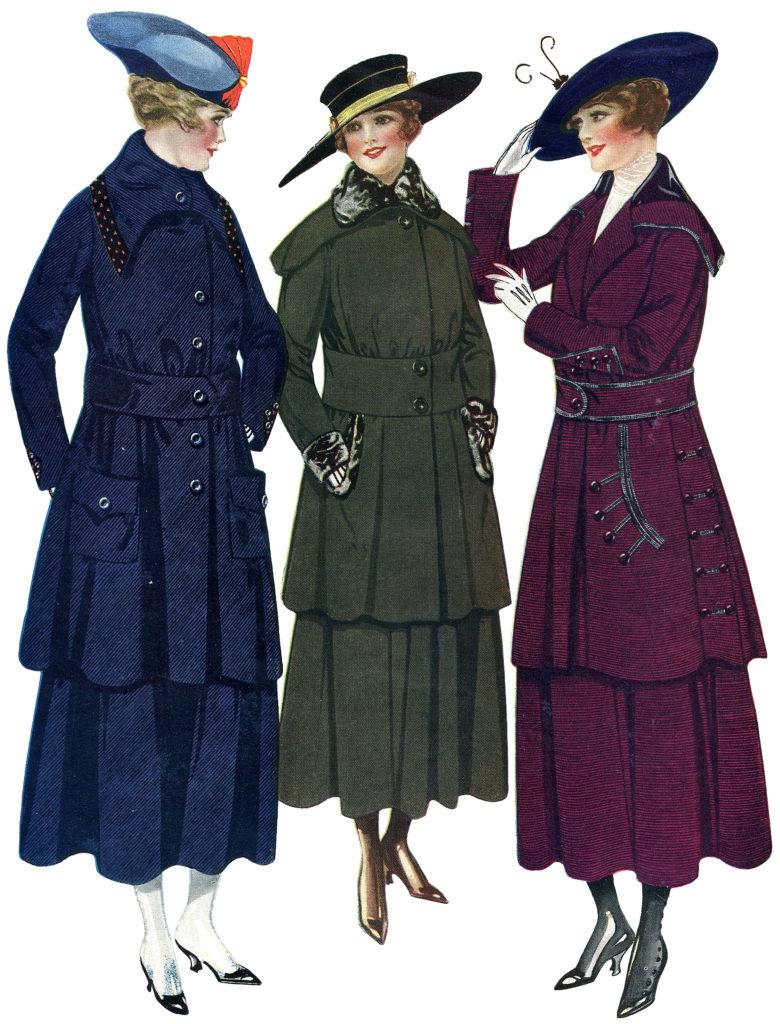 Edwardian Fashion ladies hats clipart