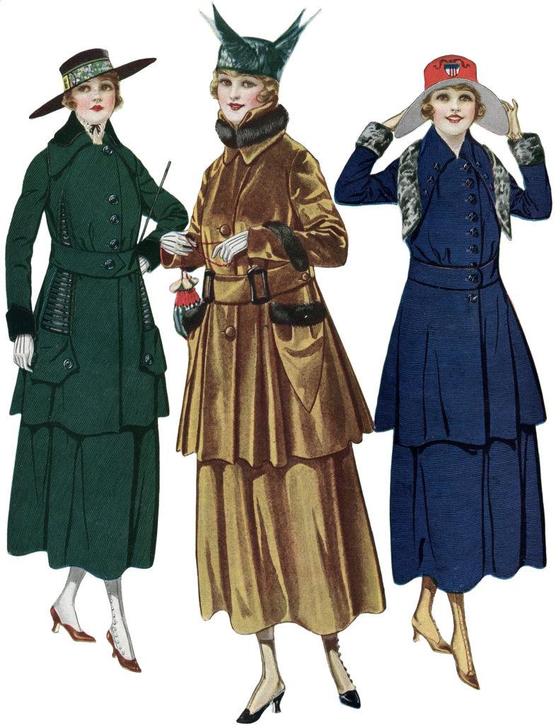 Edwardian Fashion ladies hats illustration
