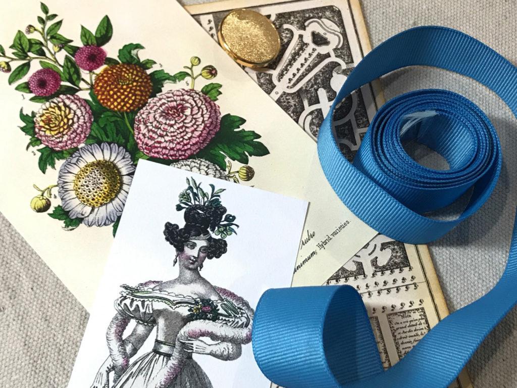 Garden Party ephemera blue ribbon junk journal