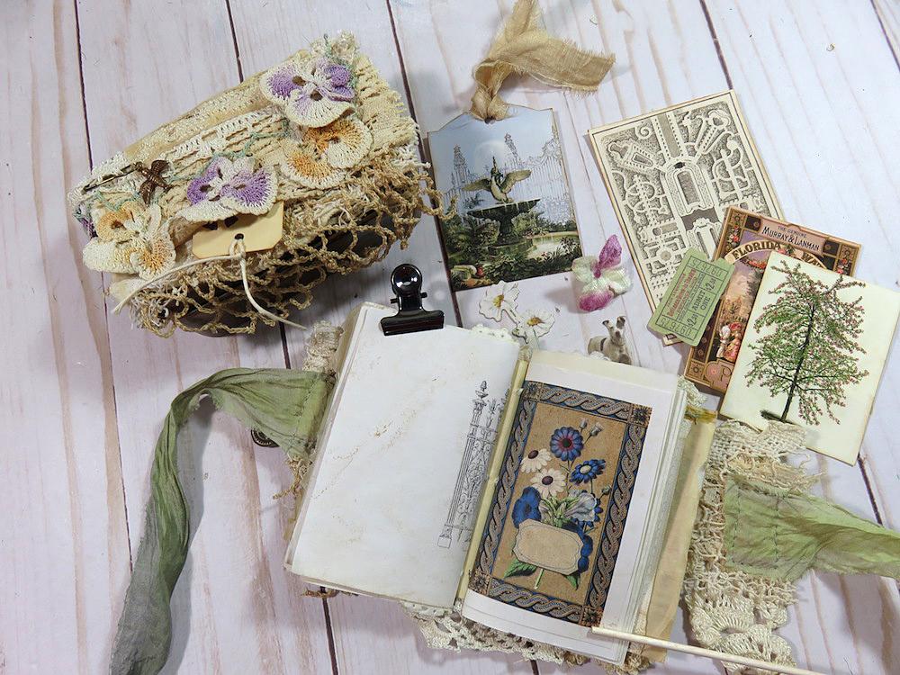 garden party junk journal green silk closure