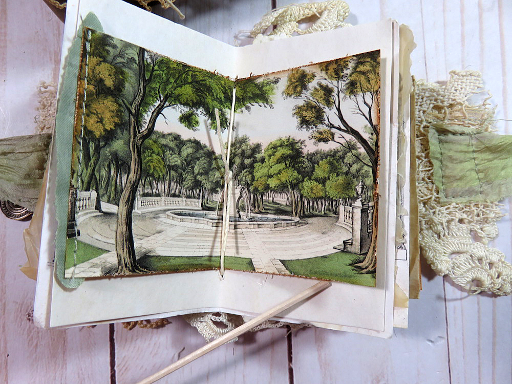 garden fountain vintage ephemera junk journal page