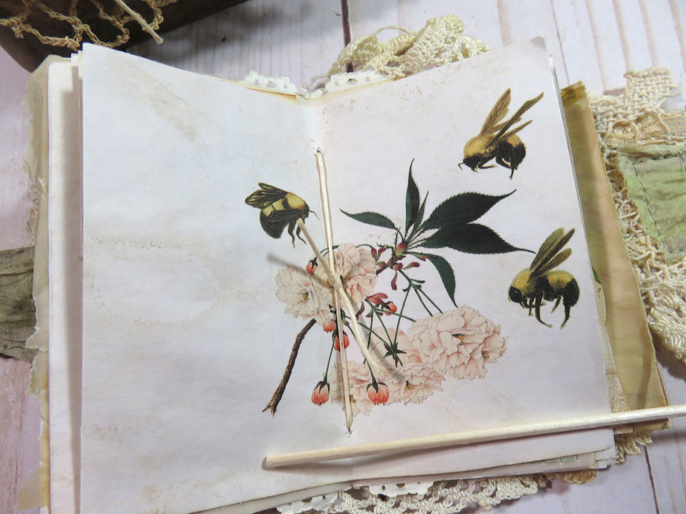 junk journal page bees cherry blossoms