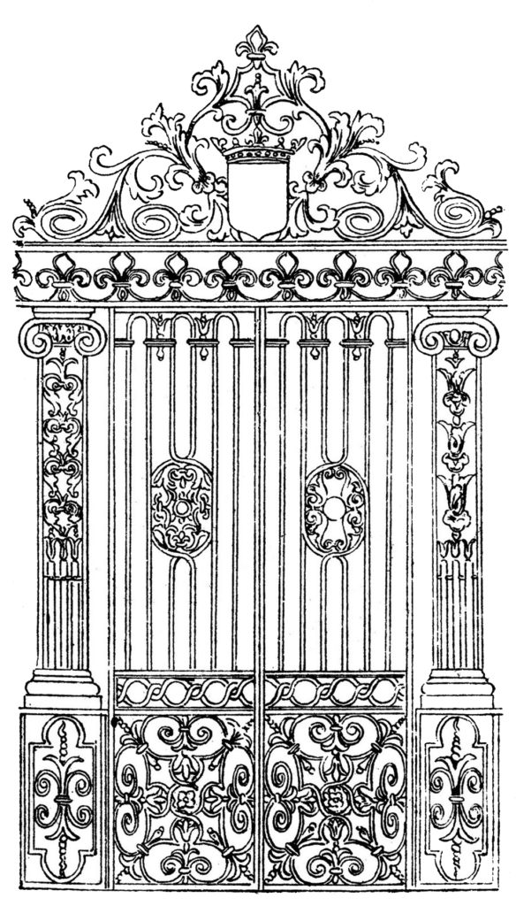 ornate vintage iron gate clipart