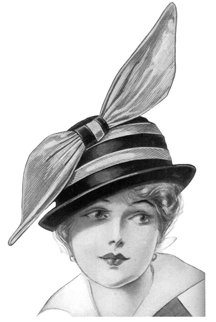 Edwardian lady striped hat bow image