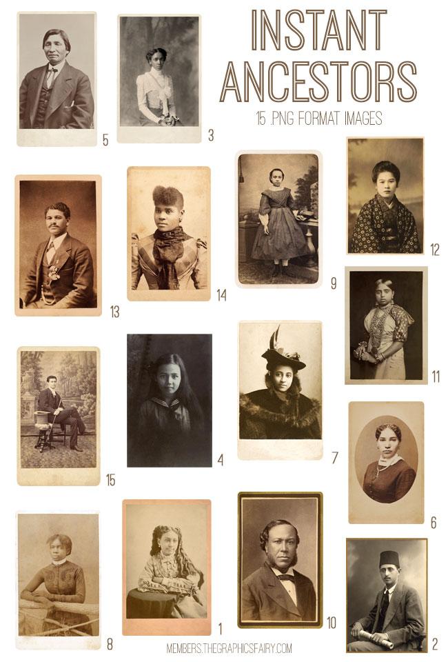 vintage instant ancestors ephemera digital image bundle