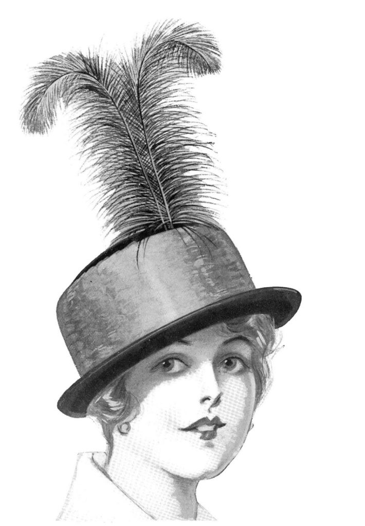 vintage lady feather hat clipart