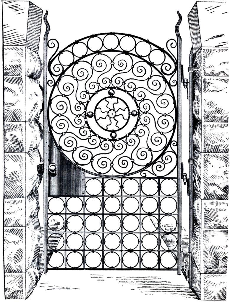 iron gate scroll work illustration