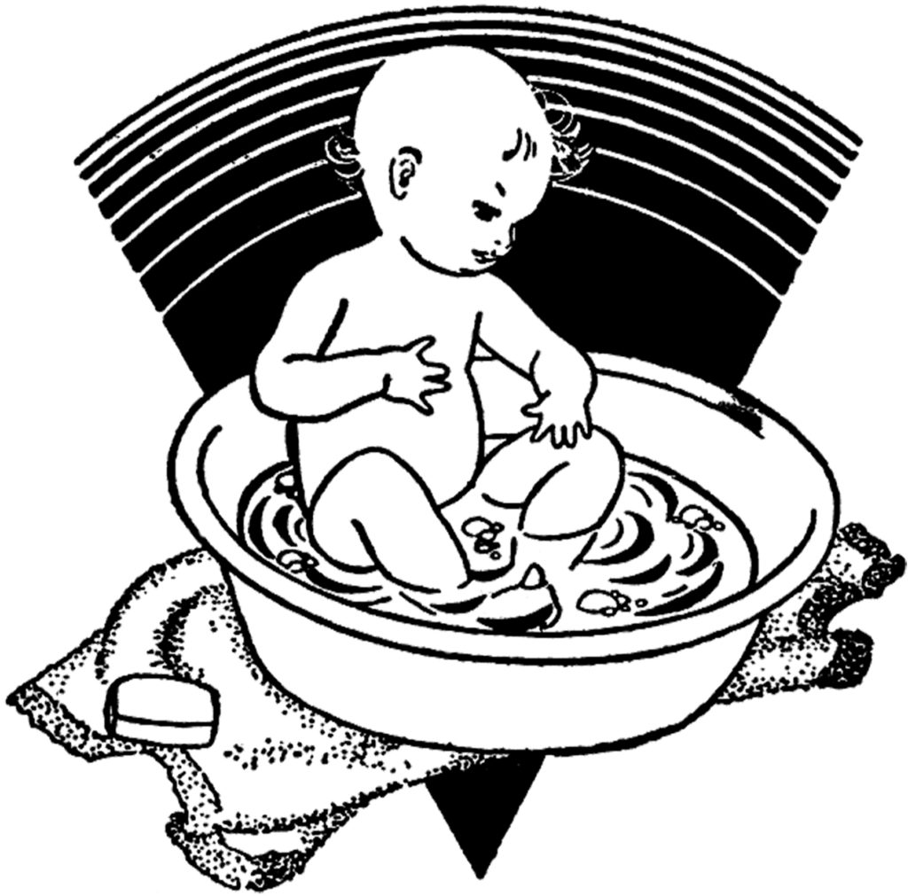 retro baby bathing clipart