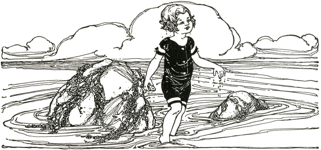 vintage beach child clipart