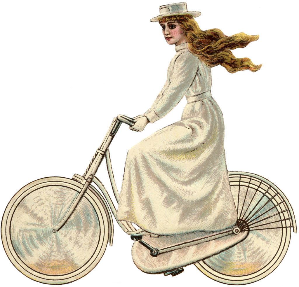 vintage girl bicycle Edwardian dress clipart