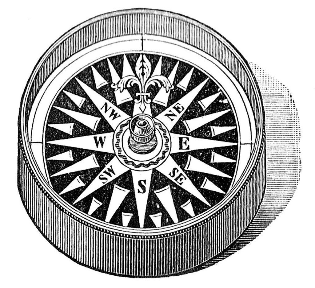 vintage ornate compass clipart
