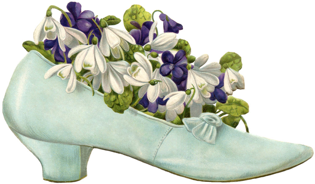 vintage blue-green shoe clipart