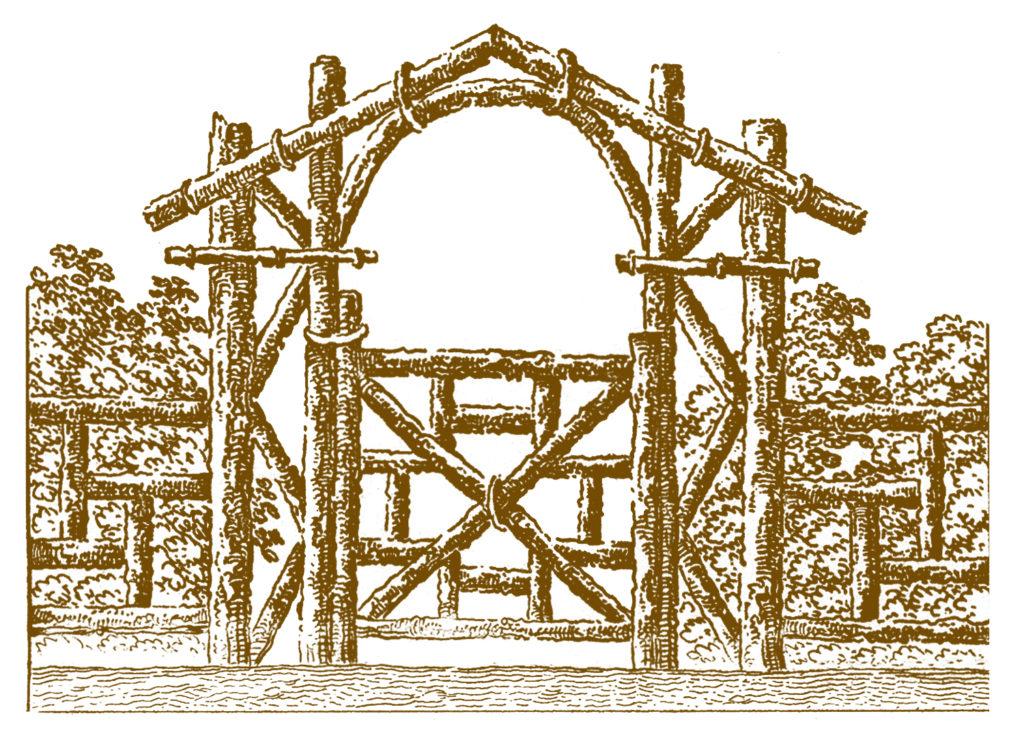 primitive wood log fence sepia image