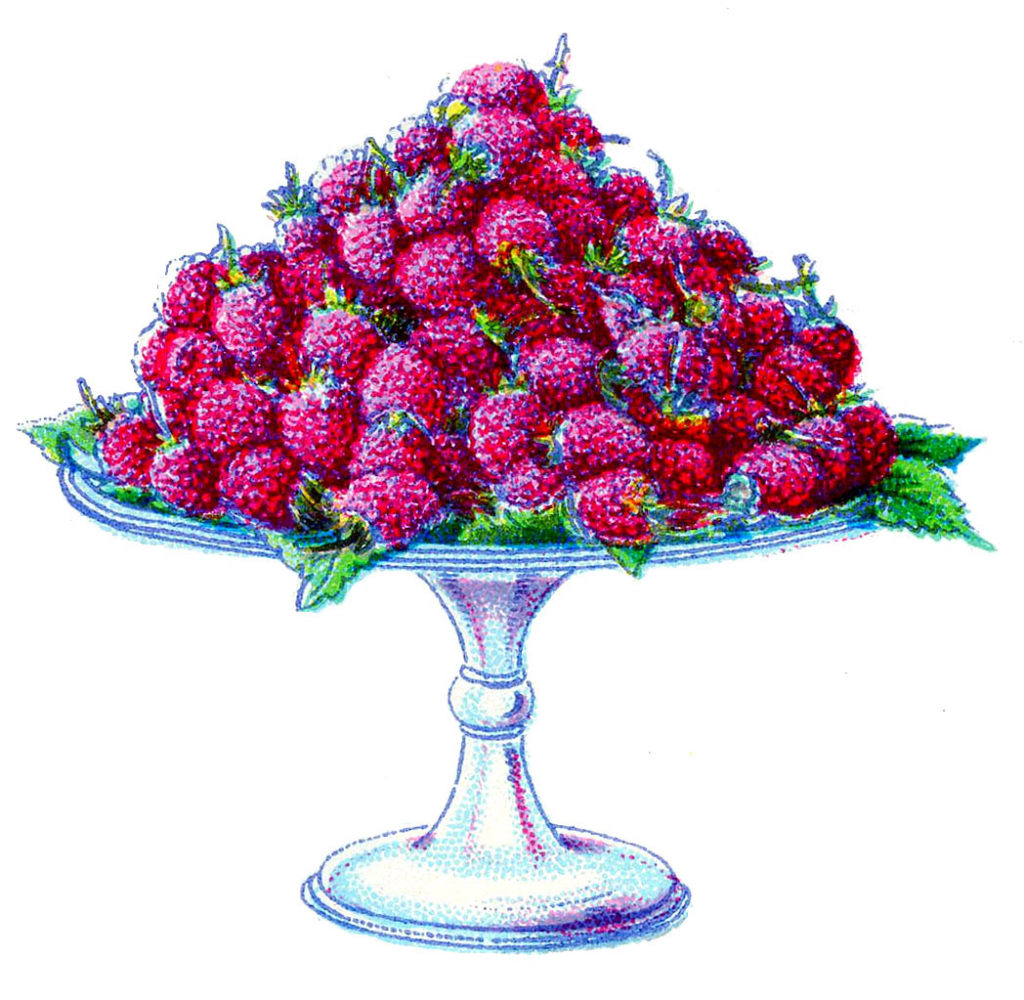 purple raspberries cake stand vintage image