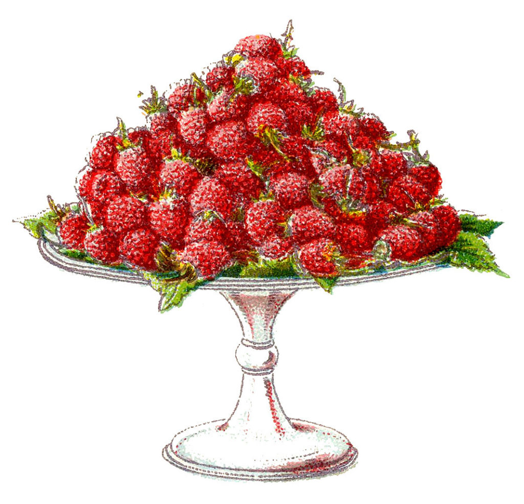 red raspberries cake stand vintage image