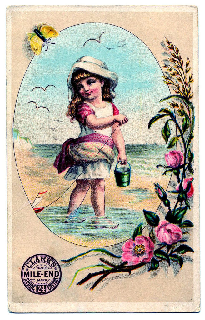 girl beach pail seagulls illustration