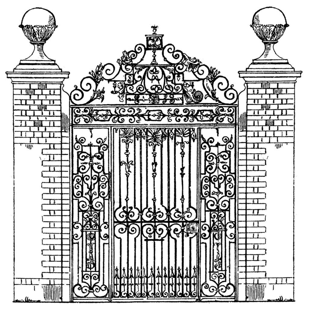 iron brick antique gate image