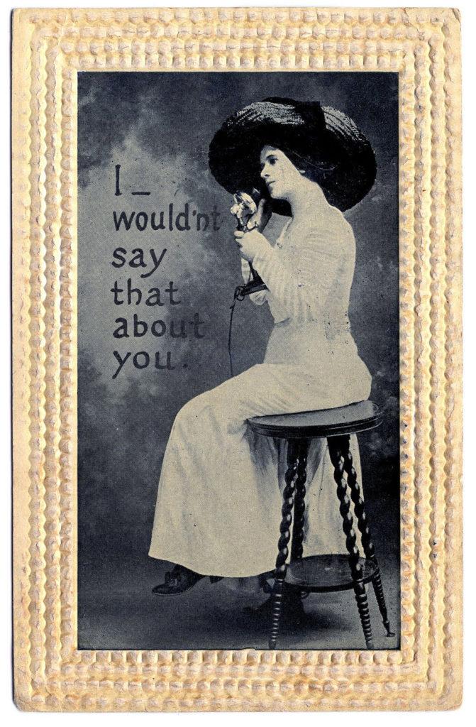 lady hat vintage telephone photograph image